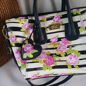 Luv Betsey Floral and Stripes Purse